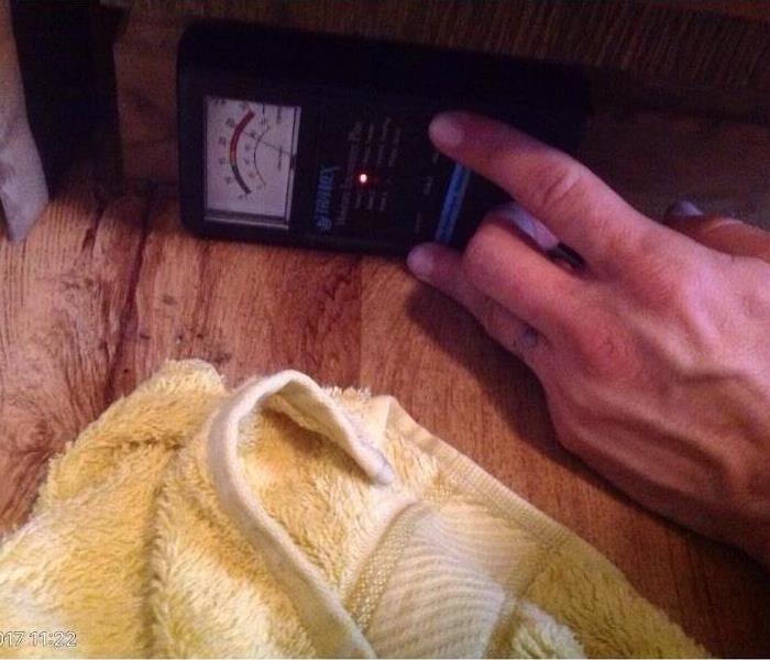 Taking Moisture Reading After Water Damage in Evendale, Ohio