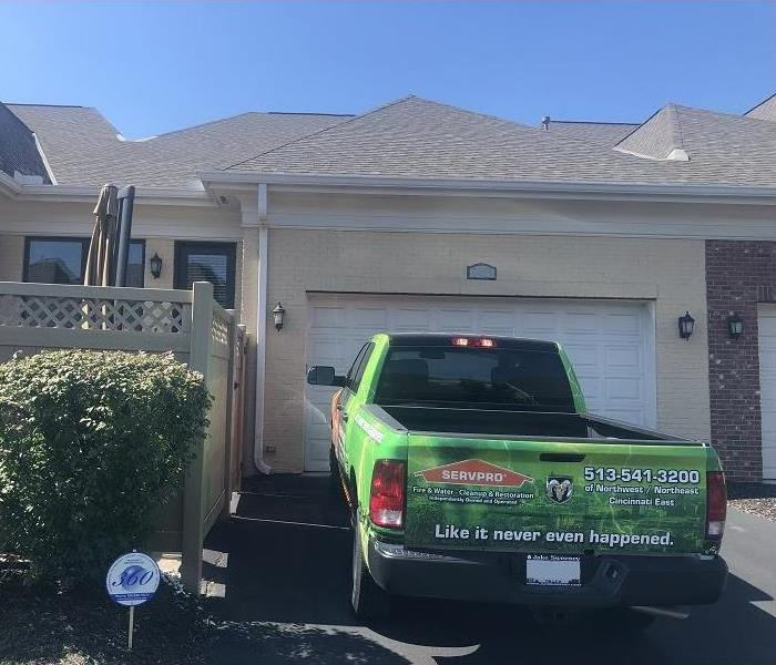 SERVPRO truck parked in driveway of Blue Ash, Ohio home.