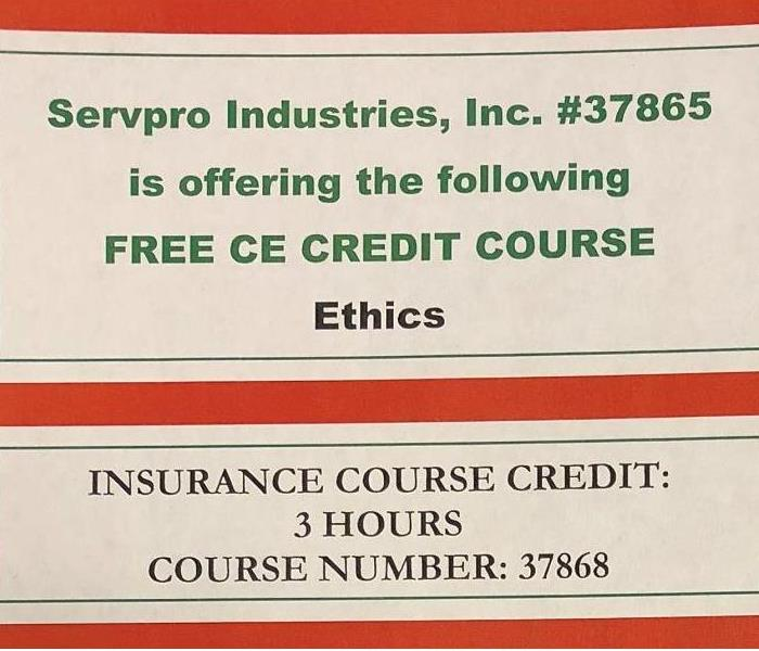 Water Damage SERVPRO OF NORTHEAST CINCINNATI TO OFFER CONTINUING EDUCATION COURSE